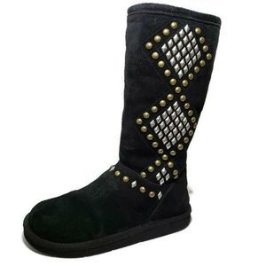Ugg AVONDALE  Black Suede Studded Shearling Boots
